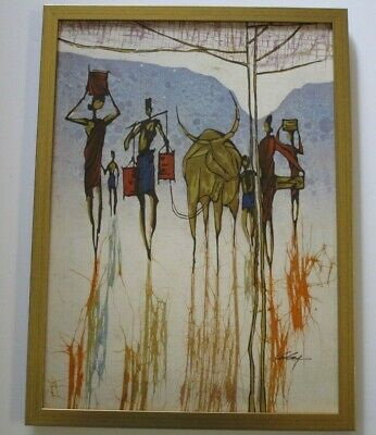 VINTAGE CHINESE MODERNISM PAINTING BATIK ABSTRACT EXPRESSIONISM 1970  TENG -