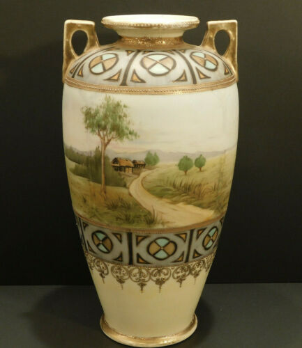 Antique Nippon Japan Vase Urn Porcelain Hand Painted Moriage Gilt Art Nouveau