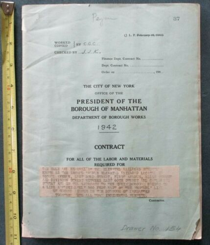 Orig 1942 Contract Removal of 2nd Ave Elevated Subway New York City NYC Vintage
