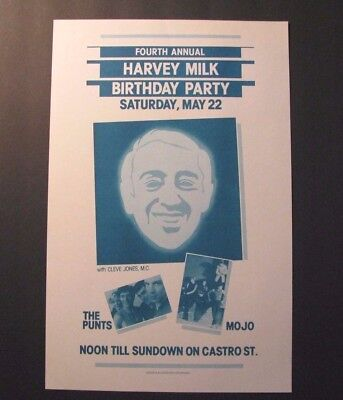 *RARE ORIG. 1982 HARVEY MILK BIRTHDAY PARTY EVENT POSTER – CLEVE JONES – LGBT*