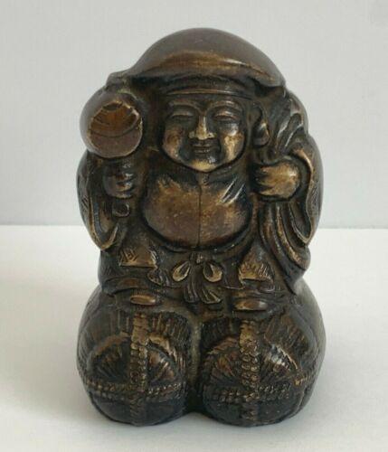 Vintage Japanese Daikoku Daikokuten Mythological Deity Solid Bronze Statue