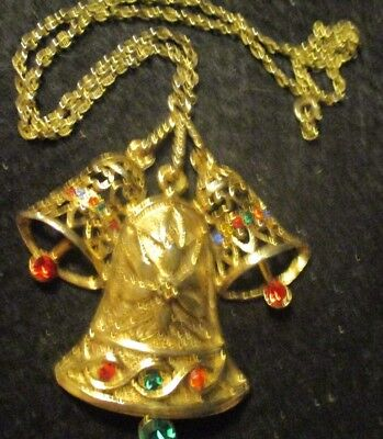 Vintage Beatrix Gold Color Christmas Holiday Three Bell Pendant Chain Necklace