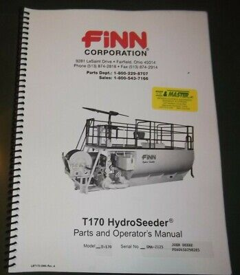 Finn T170 Hydroseeder Parts Operator Operation Maintenance Manual Book