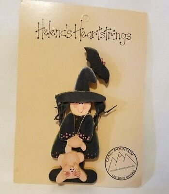 Crazy Mountain Helena's Heartstrings Painted Wood Witch & Cat Halloween Pin