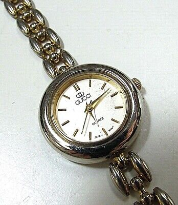 POSH Vtg 80's Gucci Rice Link Silver Gold Bracelet Dress Watch retro CHIC womens