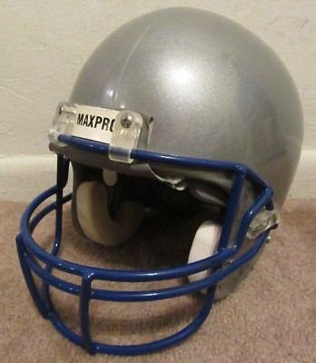 Vintage MAXPRO Football Helmet Model 2001 Solid Gray Blue Mask Size L Large L@@K