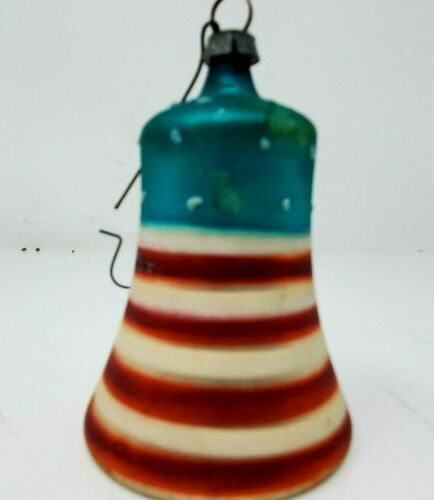 Antique German Christmas Patriotic Holiday Glass Bell Red White Blue Ornament