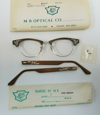 Vintage ETCHED BROWN Women's MB OPTICAL Eyeglasses Glasses Frames CAT EYE (Engraved Glass Frames)