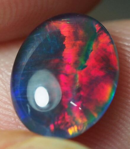 Very Bright Natural Australian Coober Pedy Opal Triplet 9x7 mm pendant ring