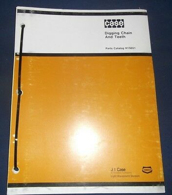 Case Trencher Digging Chain Teeth Parts Catalog Book Manual