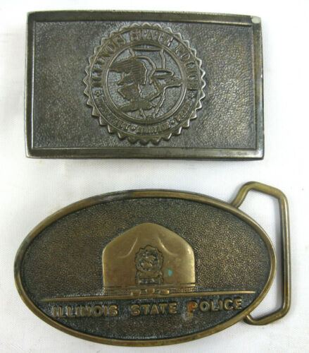 Two (2) Illinois State Police Belt Buckles - I.S.P. emblem & Trooper hat VGC