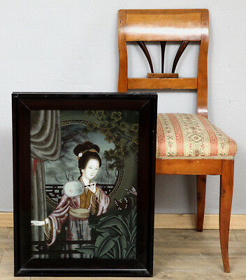 HINTERGLAS MALEREI ANTIK JAPAN DAME old japanese behind glass painting 芸者