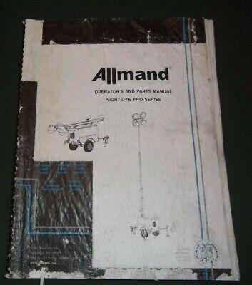 Allmand Night-lite Pro Series Parts Operator Operation Maintenance Manual Book