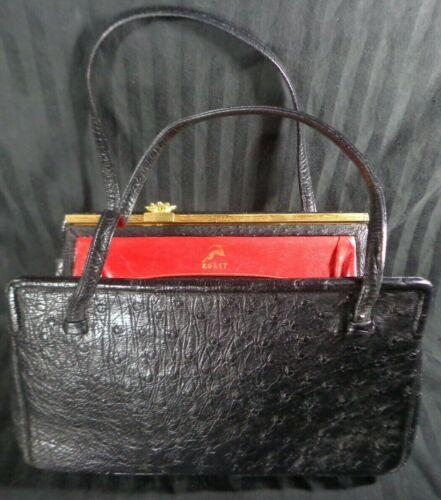 Vintage KORET Black GENUINE OSTRICH LEATHER Handbag Purse RED INNER Gold 1930
