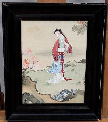 SEIDENMALEREI ANTIK CHINA ? JAPAN ? GEISHA chinese ? japanese ? on silk drawing