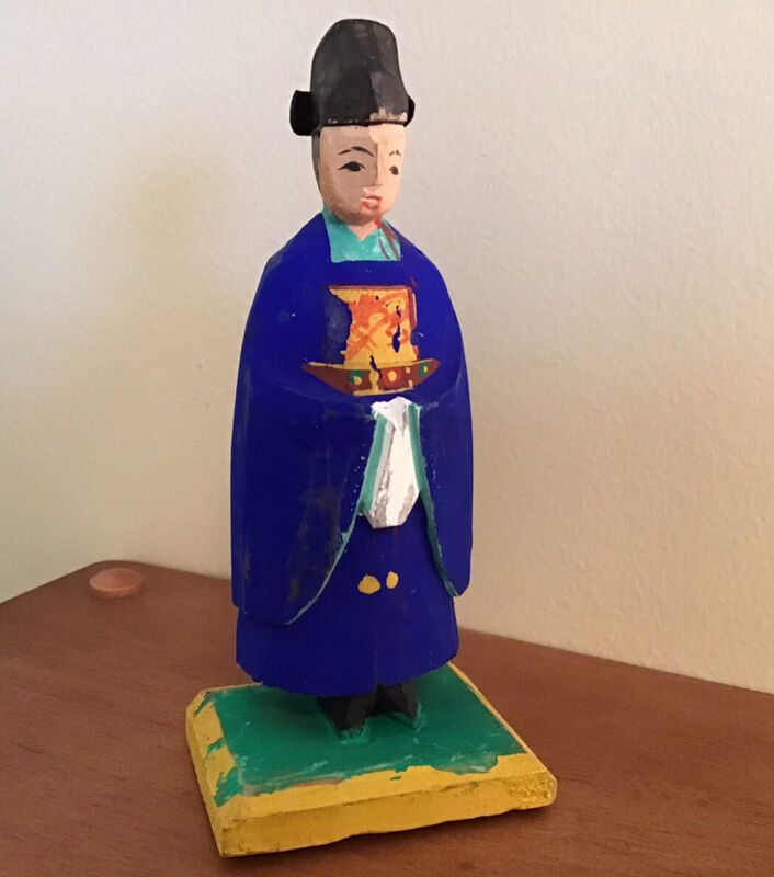 """Vintage Hand Carved & Painted Korean Wooden Figure Traditional Costume 5"""""""