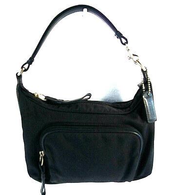 COACH Black Hobo Handbag Mercer Demi Pochette Canvas Twill Leather 7429 Purse Black Demi Handbag