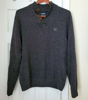 Chaps men's sweater dark grey mock neck size XL Extra Large with elbow patches