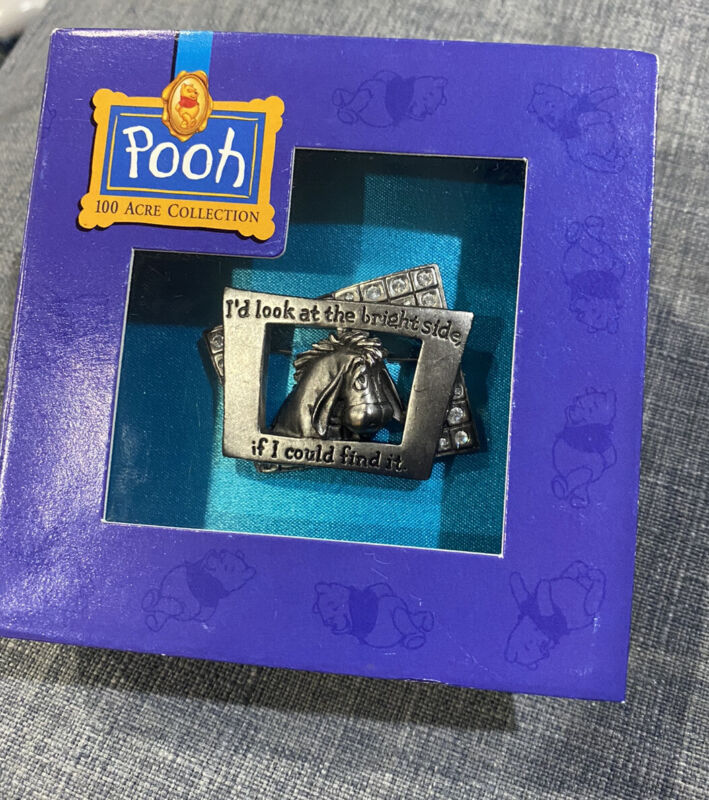 """Very Rare Edition Disney Pooh 100 Acre Collection Box- Eeyore """"Bright Side"""" Pin"""