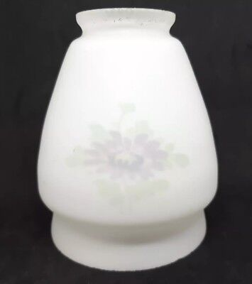 Vintage Frosted Glass Lamp Shade Reverse Painted Purple Green Flower