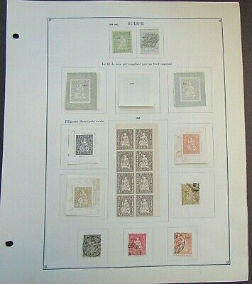 SWITZERLAND - FINE COLLECTION OF EARLY FOURNIER FORGERIES ON ORIGINAL PAGE