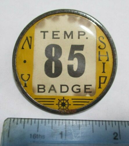 1940s? Vintage New York Ship NY Temporary Badge Employee/Soldier? Navy Yard??