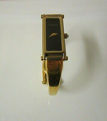 """Vintage Gucci 1500L Stainless Gold Tone Ladies Quartz Watch. 6 1/2"""" Runs"""