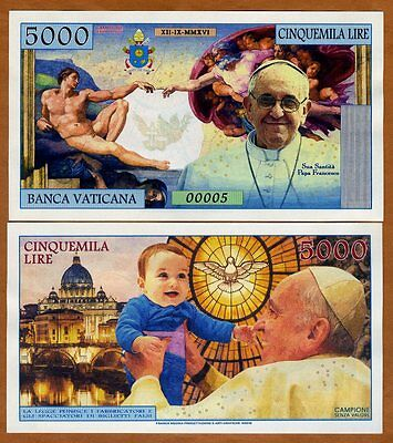 Vatican, 5000 Lire, 2016 Private Issue Kamberra, UNC   Pope Francis, Child