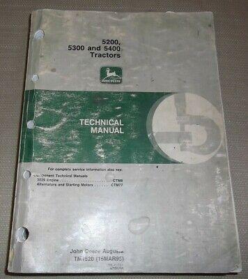 John Deere 5200 5300 5400 Tractor Technical Service Repair Manual Book Tm1520