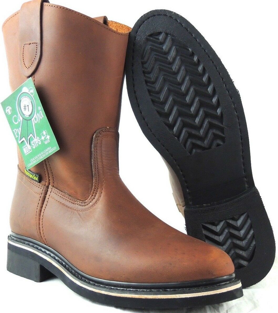 MEN'S WORK BOOTS GENUINE LEATHER BROWN COLOR WESTERN BOTAS COWBOY PULL ON