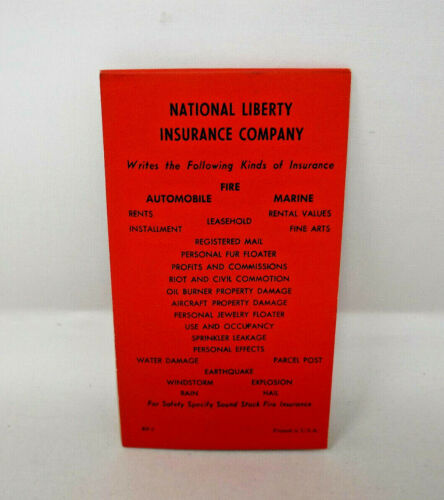 National Liberty Insurance Company Complimentary Contract Bridge Score Pad