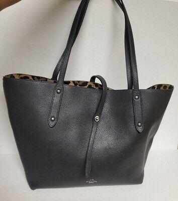 Coach Tote Bag black grain Calf Leather Turnlock double top handles Reversible?