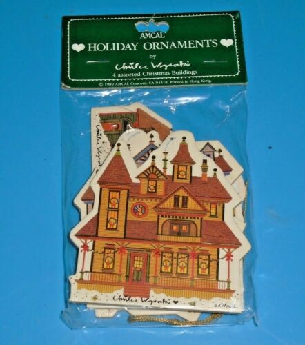 Vintage AMCAL Charles Wysocki 1989 Christmas Buildings Ornaments Set of 4