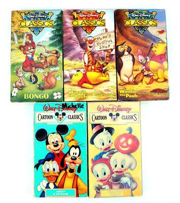 Walt Disney Cartoon Classics Lot Of 5 VHS Mickey The Gang Halloween Winnie Bongo