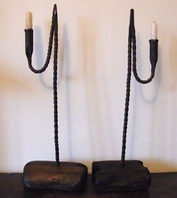 RARE LARGE PAIR OF ANTIQUE RUSHLIGHTS CANDLE HOLDER RUSH LIGHT 18TH CENTURY