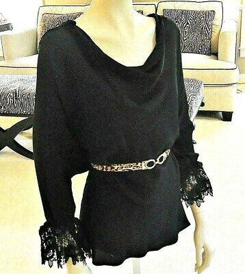 Yoana Baraschi Silk Black Lace Blouse Shirt Top Cowl Neck Size M gorgeous Black Lace Cowl