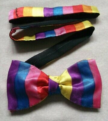 Vintage Bow Tie MENS Retro Dickie Bowtie Adjustable 1980s RAINBOW STRIPED  Striped Bow Tie