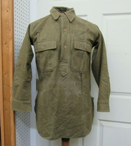 WW1 US Wool Shirt M1917 Olive Drab Flannel Pullover 3 Button Closure TEARS