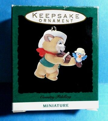 "Hallmark ""Country Fiddling"" Bear and Bird Miniature Ornament Dated 1993"