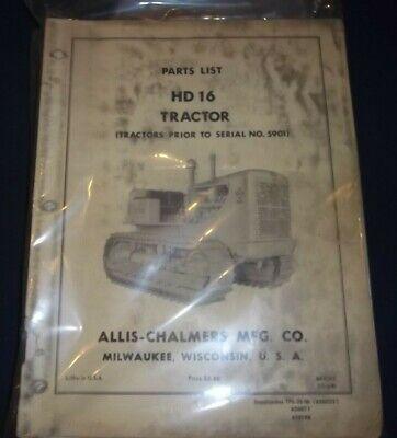 Allis Chalmers Hd-16 Crawler Tractor Dozer Bulldozer Parts Manual Book