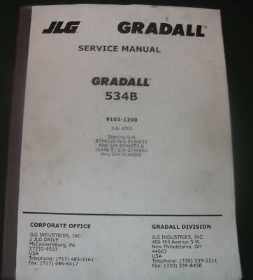 Jlg Gradall 534b Rough Terrain Crane Service Shop Repair Workshop Manual