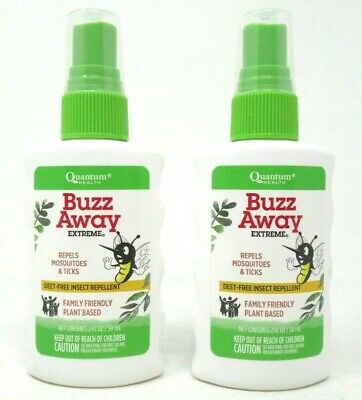 Quantum Buzz Away Extreme Insect Repellent Spray 2 fl oz Each Deet Free 2 Count Buzz Away Insect Repellant