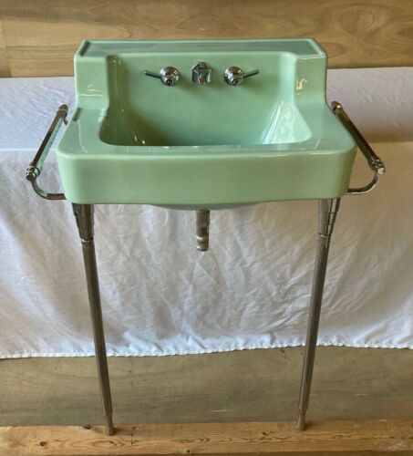Vtg Shelf Back Pale Jadeite Green Bath Wall Sink Chrome Brass legs Old 649-20E
