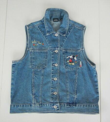 Vtg 90s Disney MICKEY MOUSE Blue Denim JEAN VEST Parks Coat Jacket Sz Women