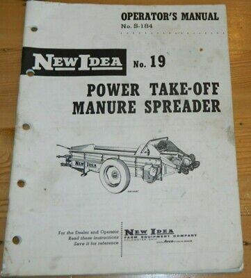 Vintage Operators New Idea No 19 Power Take-off Manure Spreader S-184