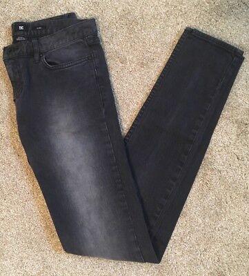 - DC Denim Women's Distressed Black Faded Skinny Straight Leg Jeans, Size 26