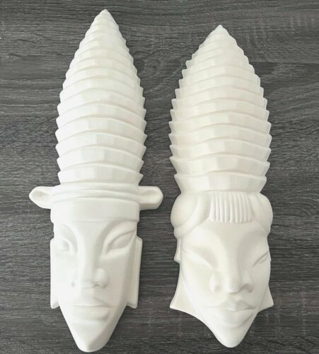 Vintage African Tribal Head Wall Hanging Art Ceramic Plaque Pair Mask Set White