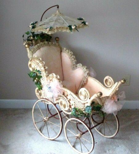 "VICTORIAN WICKER- BABY CARRIAGE BUGGY W PARASOL UMBRELLA-ANTIQUE DOLL TOY-36"""