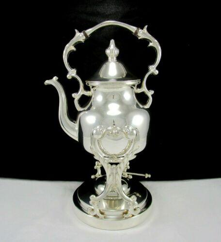Antique Silver on Copper Birmingham Silver Tilting Tea Spirit Kettle w/Warmer