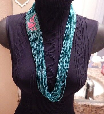 SIGNED M. FLYNG HORSE NAVAJO MULTI STRAND BEADED NECKLACE  AQUA,DATE -